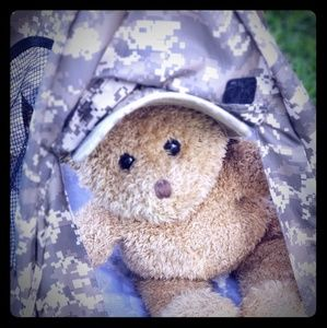 Army bear and ACU tent